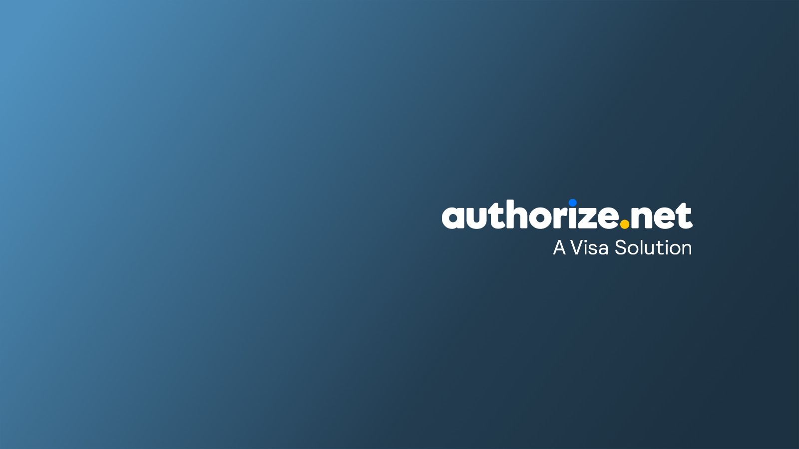 Authorize.Net logo with the phrase A Visa Solution underneath.